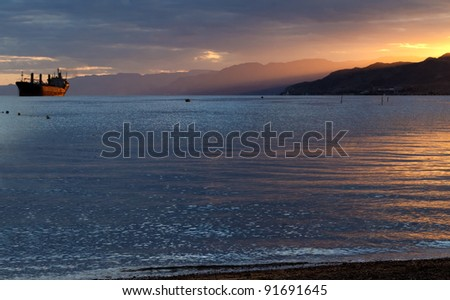 Colorful sunset in the gulf of Aqaba near Eilat - popular resort and recreation city in Israel