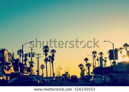 Colorful sunset in Venice, California