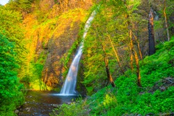 Colorful Sunset on Horsethief Falls on Columbia Gorge in Portland, Oregon