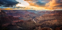 Colorful Sunset on the Grand Canyon in Grand Canyon National Park, Arizona