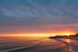 colorful sunset on the pier.