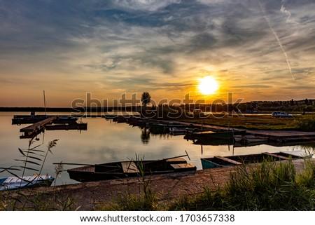 Colorful sunset on Velence lake, west of Hungary Stock fotó ©