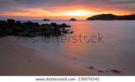 Colorful sunset over Andaman sea at twilight in Lipe island, Thailand