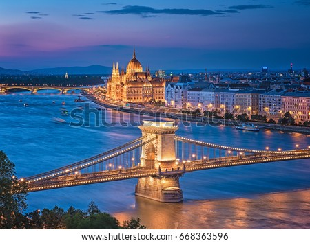 Colorful sunset over Budapest