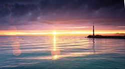 Colorful sunset over lake Balaton, Hungary