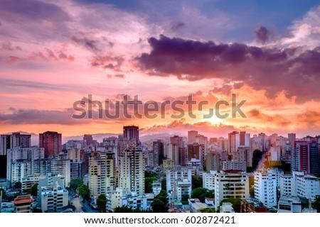 Colorful Sunset over the City, Caracas, Venezuela