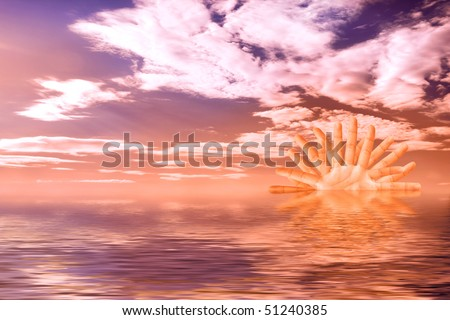 Colorful sunset over the ocean with a sun made from hands over cloudy sky crystal clear water Summer scenic background