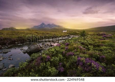 Colorful sunset over the Scottish Higlands, river Sligachan, Scotland #224969548