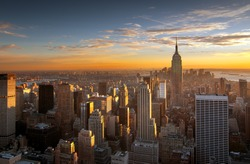 Colorful sunset over the skyline of New York city
