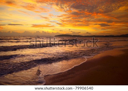Colorful sunset over tropical sea
