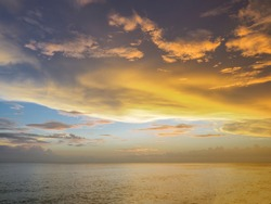 Colorful sunset sky over the Gulf of Mexico from Caspersen Beach in Venice Florida USA