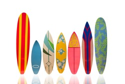 Colorful Surfboard on white background with reflection.