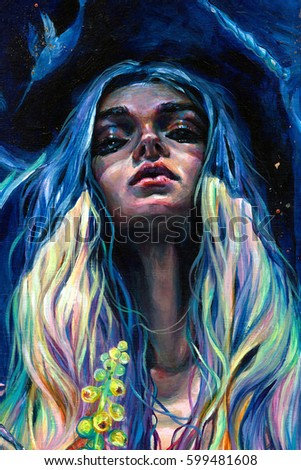 Stock Photo Colorful surreal psychedelic acrylic hand-painted portrait of a pretty woman with long hair.