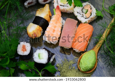 Colorful sushi with wasabi and soy sauce Stock fotó ©