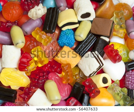 Colorful sweets and candies mixture