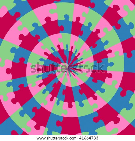colorful swirl of bright jigsaw pieces