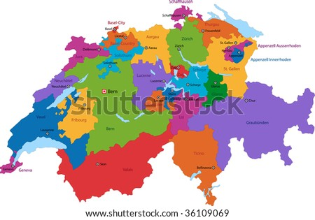 Colorful Switzerland map with states and main cities