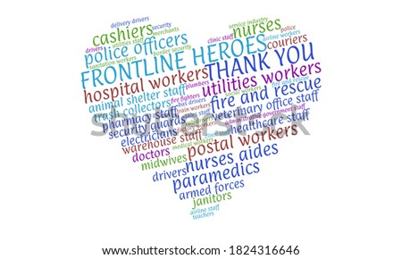 Colorful tag cloud in the shape of a heart naming essential workers and thanking the frontline heroes during the Coronavirus pandemic Foto stock ©