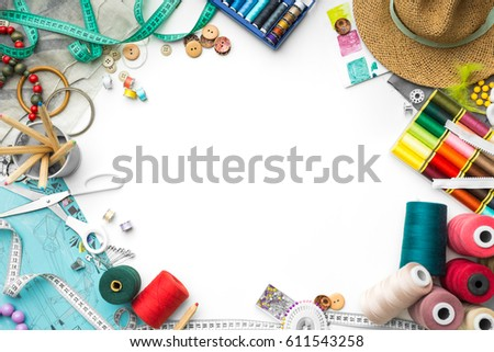colorful tailoring objects on a white background