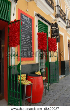 Colorful Tapas bar in Spain