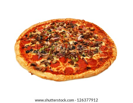 colorful tasty pizza with olives, pepperoni, ham and pepper, close-up shot, isolated on a white background