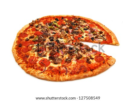 colorful tasty pizza with olives, pepperoni, ham and pepper, slice removed close-up shot, isolated on a white background