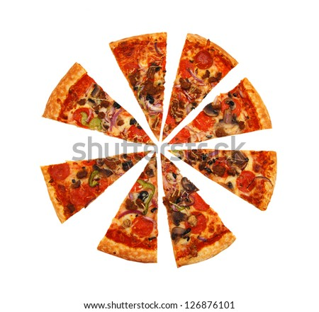 colorful tasty pizza with olives, pepperoni, ham and pepper, slices removed close-up shot, isolated on a white background