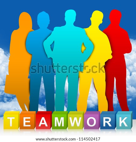 Colorful Teamwork Cube Box And Colorful Businessman For Business Concept  In Blue Sky Background