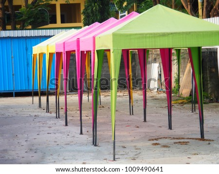 Colorful Tents for outdoor fairs. To sell Or a rain shade to rain. To sell Or a rain shade to rain.Made of steel frame and waterproof tarpaulin. #1009490641