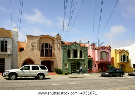 Colorful terrace houses in San Francisco,  California, USA