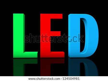 """Colorful text """"LED"""" on the black background."""