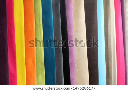 Colorful textiles different materials samples in garment industry #1495286177