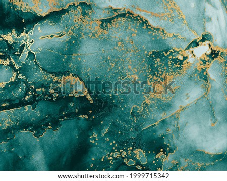 Colorful Texture. Emerald. Sky color, Tidewater Green Gold Streaks. Aquamarine Ink Paint. Alcohol Ink Spots. Transparent clouds Morbilli. Water spilled. Blue Abstract. Stock photo ©