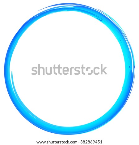 Colorful textured, grungy circle isolated on white