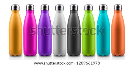 Colorful thermo bottles for water, isolated on white background. #1209661978
