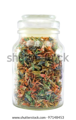Colorful ticket in a bottle. - stock photo