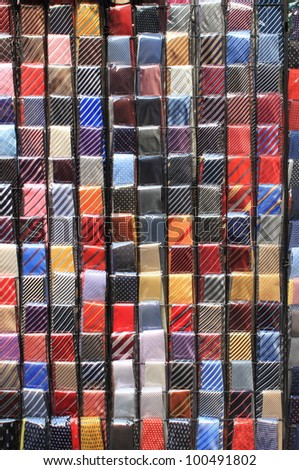 Colorful ties displayed in a fashion shop