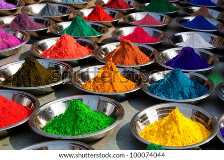Colorful tika powders on Orcha market, India