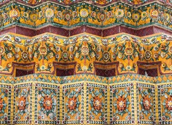 Colorful tiles floral pattern Mosaic on Pagoda Temple Landmark Architecture Bangkok Thailand