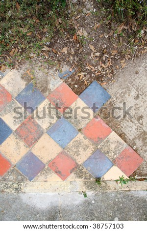 Colorful tiling from a ruined church