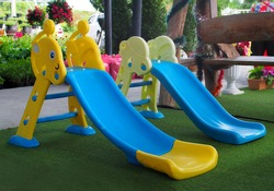 Colorful Toddler Slide Large Kids on green grass , Sliders And Climbers Indoor/Outdoor for Children , Playground Plastic climber