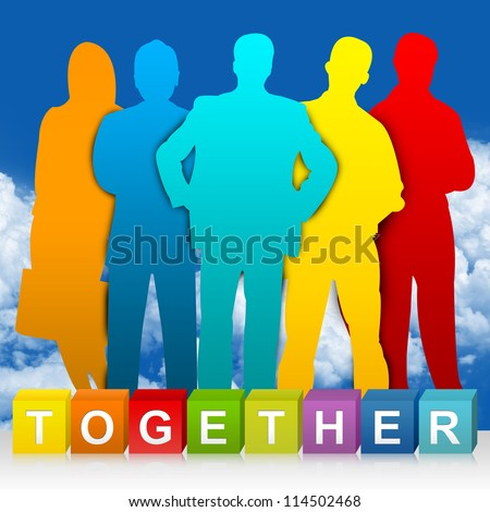 Colorful Together Cube Box And Colorful Businessman For Business Concept  In Blue Sky Background