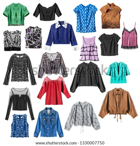 Colorful tops and blouses isolated over white