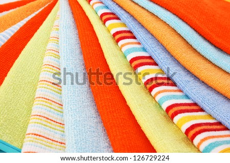 Colorful towels as a background.