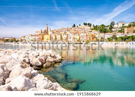 colorful town Menton on cote d'azur in south France Foto stock ©