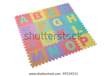 Colorful toy puzzle in textured foam for kid to learn english alphabet