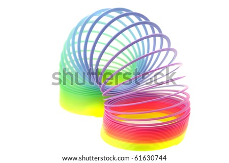 Colorful toy spring isolated on white