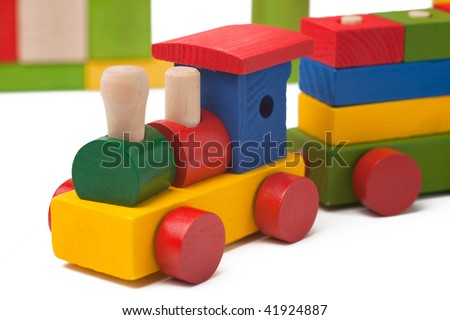 Colorful toy train isolated on white background