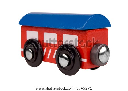 Colorful Toy train passenger car isolated on white background with a clipping path