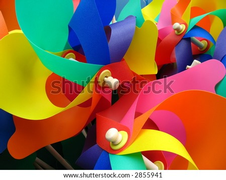 colorful toy windmills